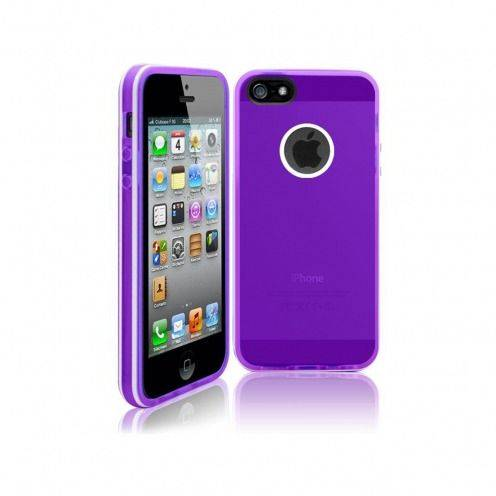 Coque iPhone 5S / 5 White Stripes Violette
