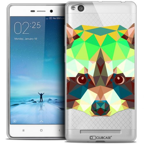 Coque Crystal Gel Xiaomi Redmi 3 Extra Fine Polygon Animals - Raton Laveur