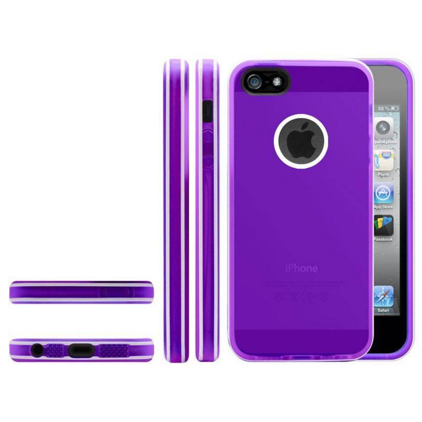 Photo réelle de Coque iPhone 5 White Stripes Violette