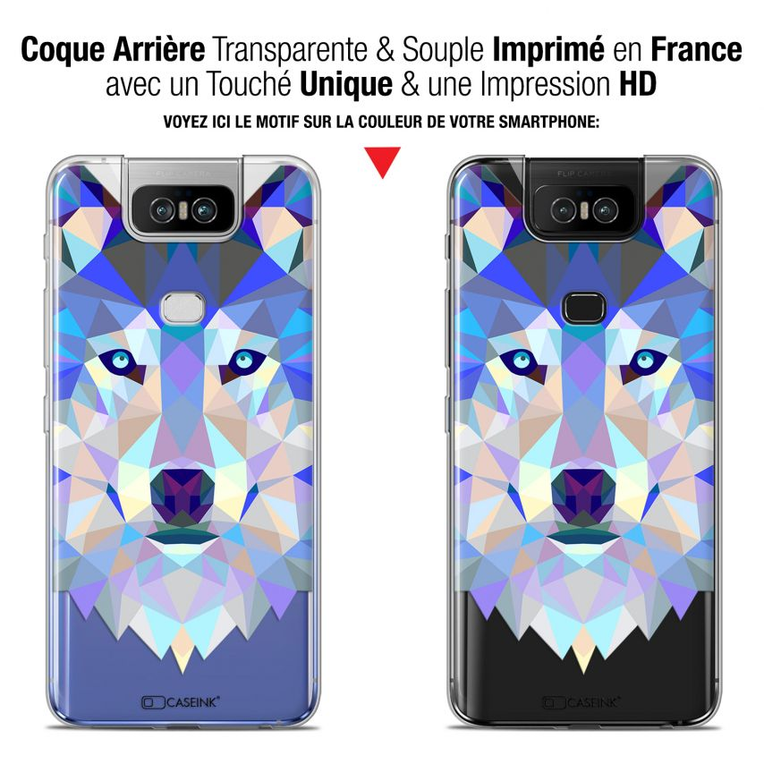 "Coque Gel Asus Zenfone 6 ZS630KL (6.4"") Extra Fine Polygon Animals - Loup"