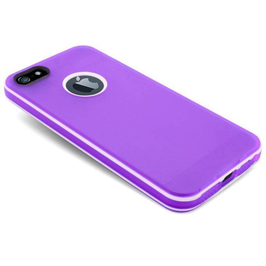 Vue portée de Coque iPhone 5 White Stripes Violette