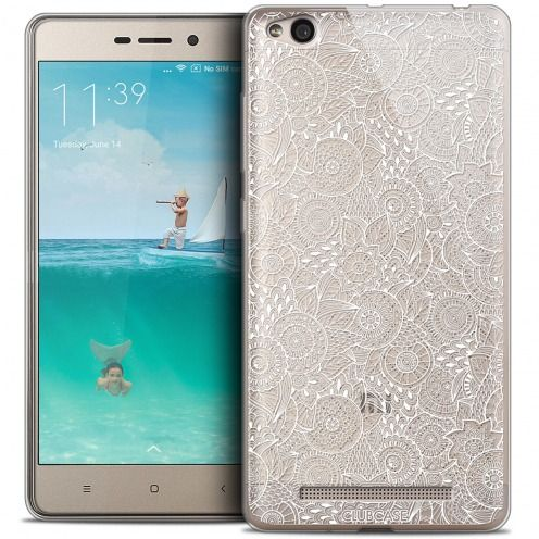 Coque Crystal Gel Xiaomi Redmi 3 Extra Fine Texture Dentelle Florale - Blanche