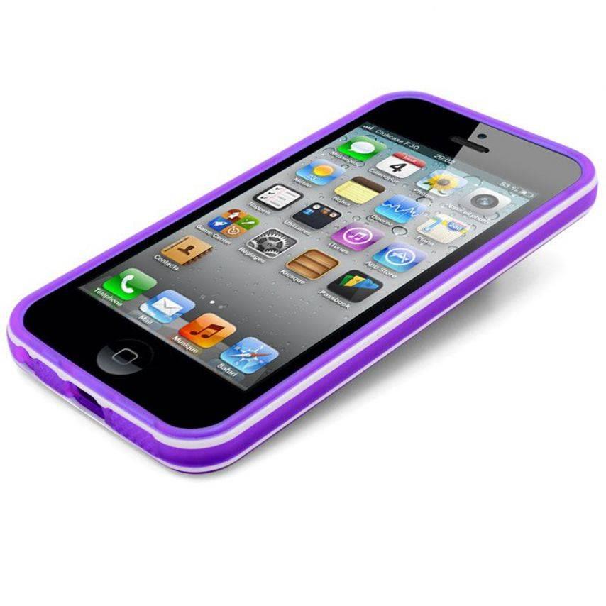 Visuel unique de Coque iPhone 5 White Stripes Violette