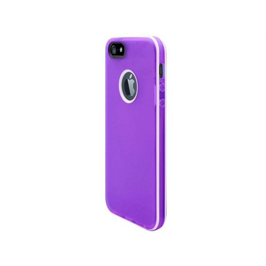 Visuel supplémentaire de Coque iPhone 5 White Stripes Violette