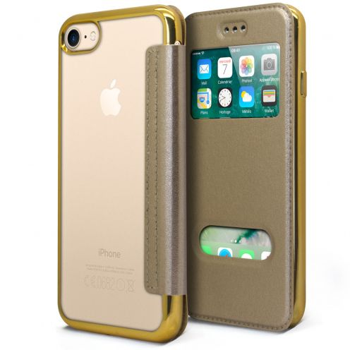 Coque Etui Apple iPhone 7/8 (4.7) Flip Folio Gel - Window View - Or Metalisé