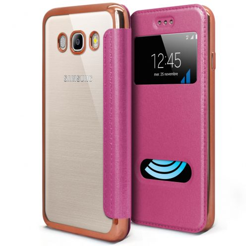 Coque Etui Samsung Galaxy J5 2016 (J510) Flip Folio Gel - Window View - Rose Metalisé