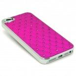 Visuel supplémentaire de Coque iPhone 5 Luxury Satin & Diamant Fushia