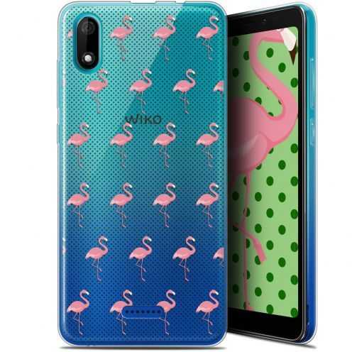"Coque Gel Wiko Y60 (5.45"") Extra Fine Pattern - Les flamants Roses Dots"