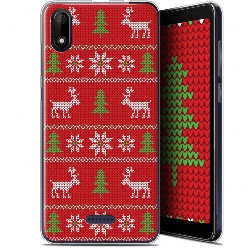 "Coque Gel Wiko Y60 (5.45"") Extra Fine Noël 2017 - Couture Rouge"