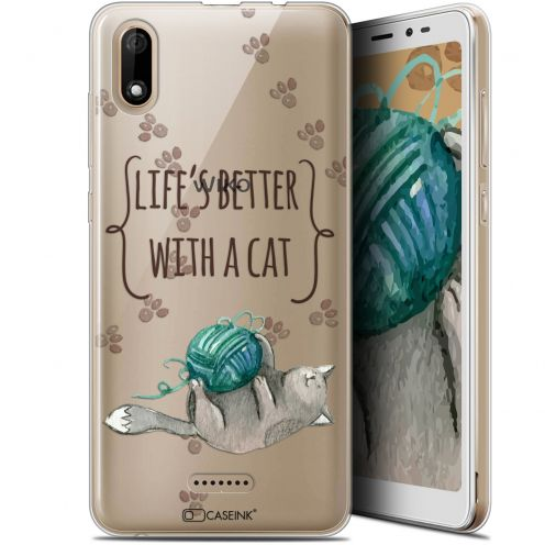 "Coque Gel Wiko Y60 (5.45"") Extra Fine Quote - Life's Better With a Cat"