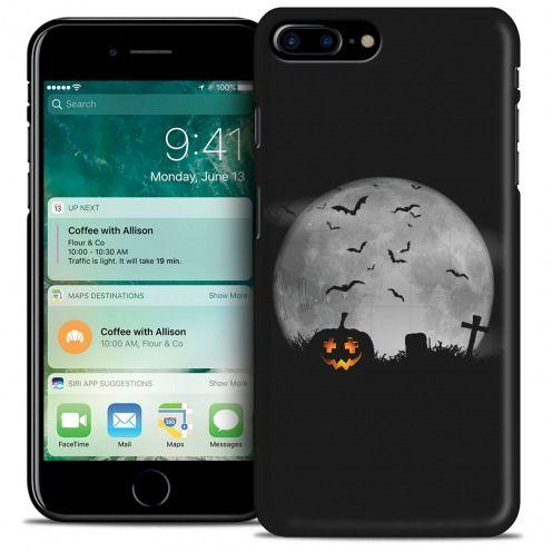 Coque iPhone 7 Plus (5.5) Hallowen Extra Fine Noir La Citrouille du Cimetière