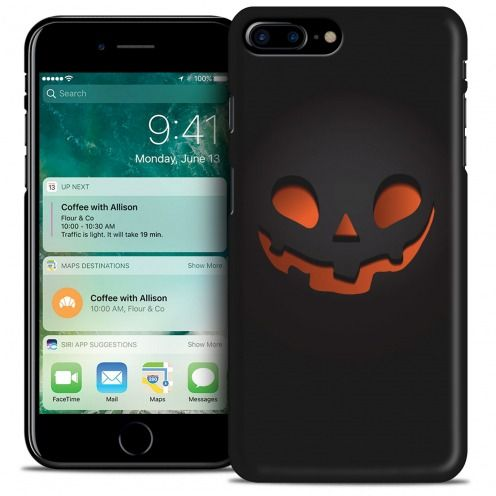 Coque iPhone 7 Plus (5.5) Hallowen Extra Fine Noir Citrouille Souriante