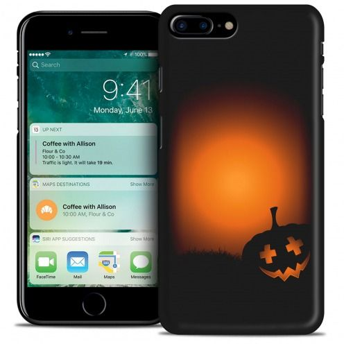 Coque iPhone 7/8 Plus (5.5) Hallowen Extra Fine Noir Coucher de Citrouille
