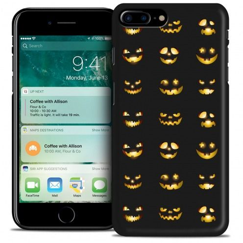 Coque iPhone 7 Plus (5.5) Hallowen Extra Fine Noir Smiley Citrouille