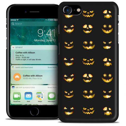 Coque iPhone 7/8 (4.7) Hallowen Extra Fine Noir Smiley Citrouille