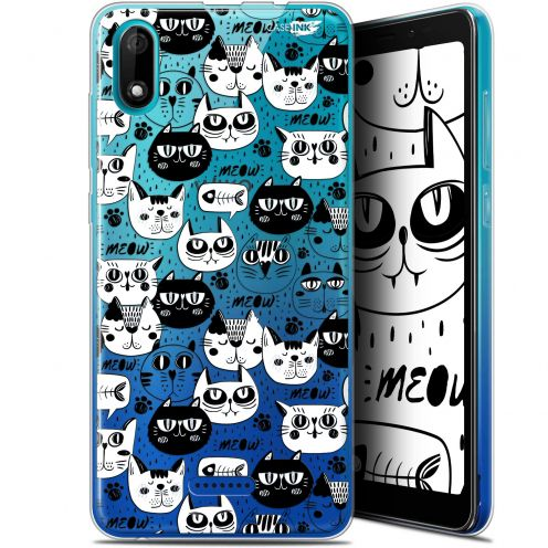 """Coque Gel Wiko Y60 (5.45"""") Extra Fine Motif - Chat Noir Chat Blanc"""