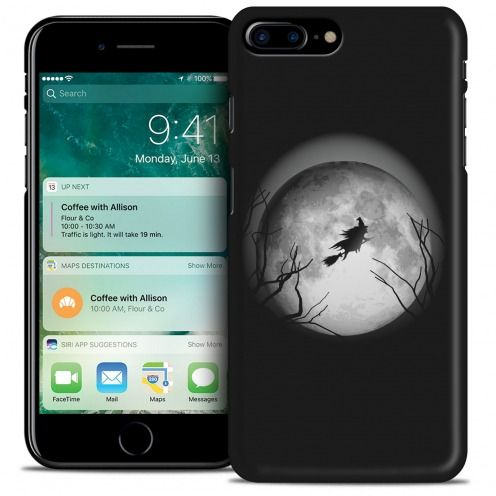 Coque iPhone 7 Plus (5.5) Hallowen Extra Fine Noir Flying Sorciere