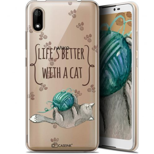 "Coque Gel Wiko Y70 (5.99"") Extra Fine Quote - Life's Better With a Cat"
