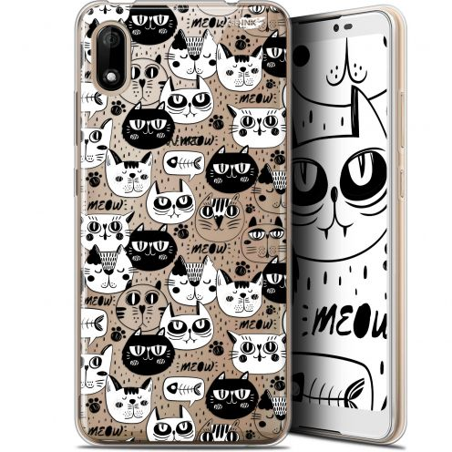 """Coque Gel Wiko Y70 (5.99"""") Extra Fine Motif - Chat Noir Chat Blanc"""