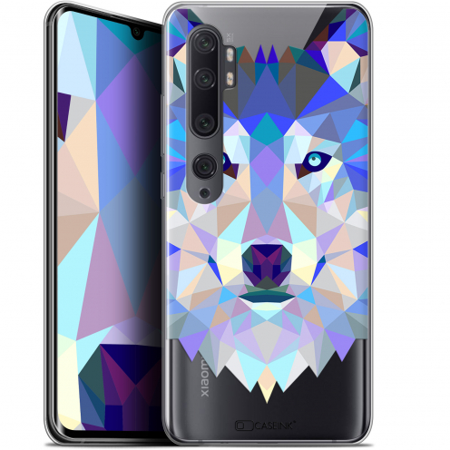 "Coque Gel Xiaomi Mi Note 10 / Pro (6.47"") Extra Fine Polygon Animals - Loup"