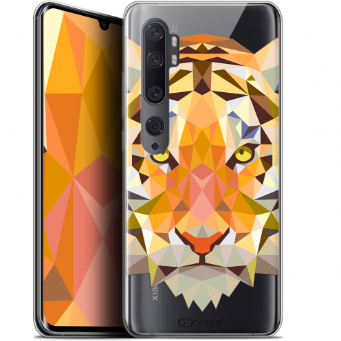 "Coque Gel Xiaomi Mi Note 10 / Pro (6.47"") Extra Fine Polygon Animals - Tigre"