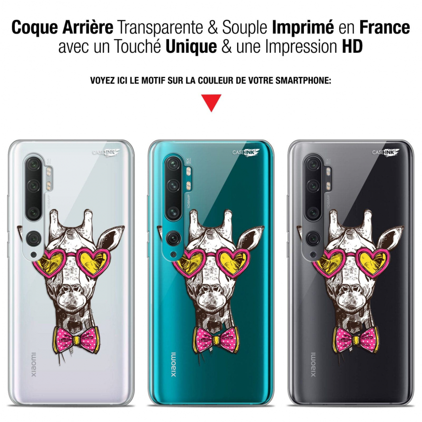 "Coque Gel Xiaomi Mi Note 10 / Pro (6.47"") Extra Fine Motif - Hipster Giraffe"