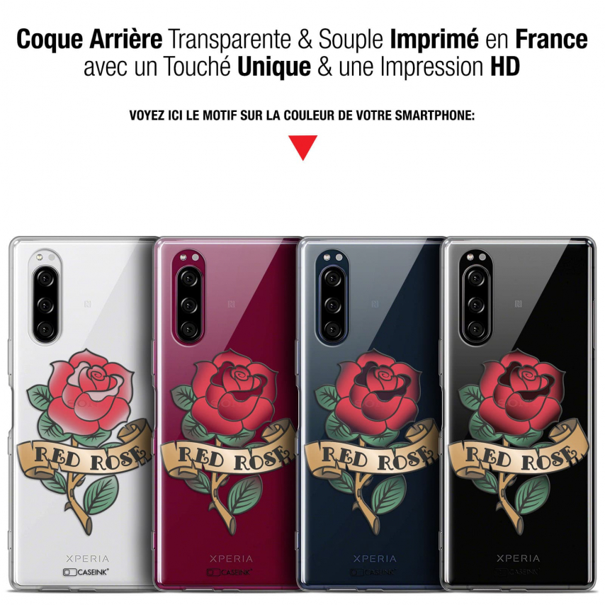 "Coque Gel Sony Xperia 5 (6.1"") Extra Fine Tatoo Lover - Red Rose"