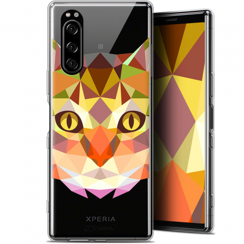 "Coque Gel Sony Xperia 5 (6.1"") Extra Fine Polygon Animals - Chat"