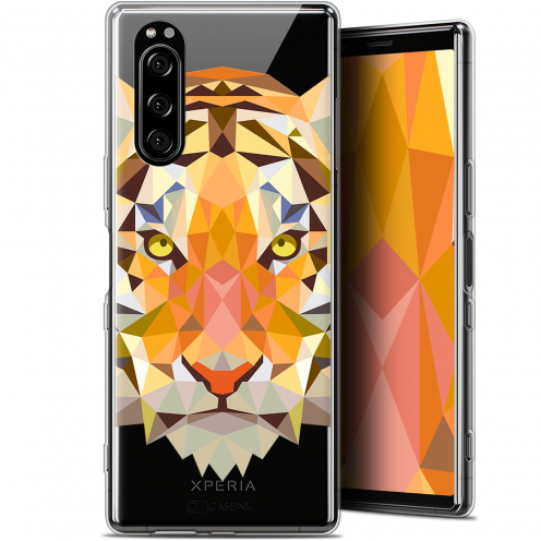 "Coque Gel Sony Xperia 5 (6.1"") Extra Fine Polygon Animals - Tigre"