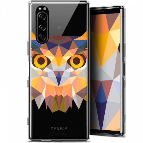 "Coque Gel Sony Xperia 5 (6.1"") Extra Fine Polygon Animals - Hibou"