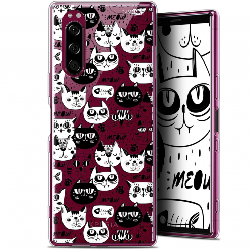 """Coque Gel Sony Xperia 5 (6.1"""") Extra Fine Motif - Chat Noir Chat Blanc"""