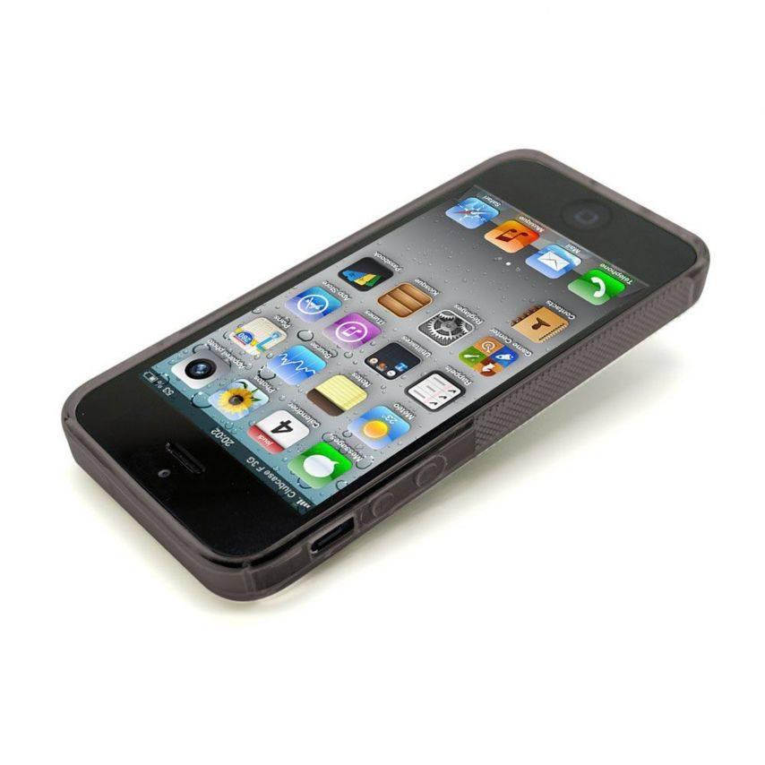 Vue portée de Coque iPhone 5 Tpu Basics SLine Noire fumée