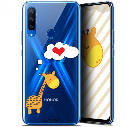 "Coque Gel Huawei Honor 9X (6.59"") Extra Fine Love - Girafe Amoureuse"