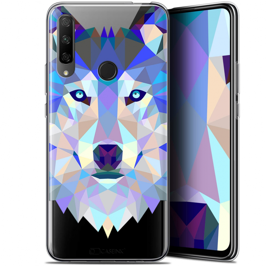"Coque Gel Huawei Honor 9X (6.59"") Extra Fine Polygon Animals - Loup"