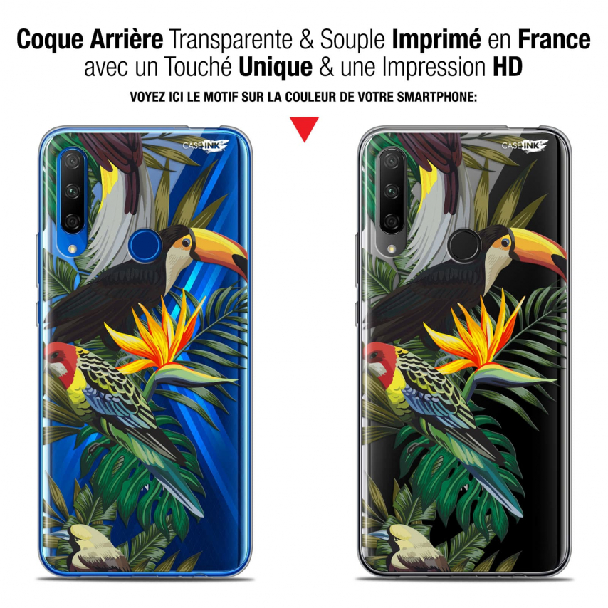 "Coque Gel Huawei Honor 9X (6.59"") Extra Fine Motif - Toucan Tropical"