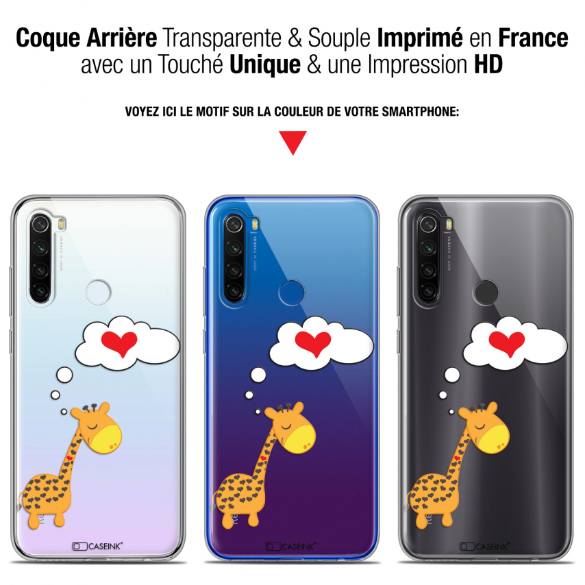 "Coque Gel Xiaomi Redmi Note 8T (6.3"") Extra Fine Love - Girafe Amoureuse"
