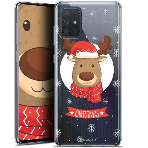 "Coque Gel Samsung Galaxy A71 (A715) (6.7"") Extra Fine Noël 2017 - Cerf à Echarpe"