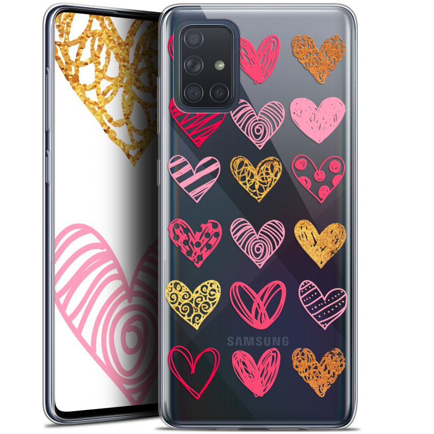 "Coque Gel Samsung Galaxy A71 (A715) (6.7"") Extra Fine Sweetie - Doodling Hearts"