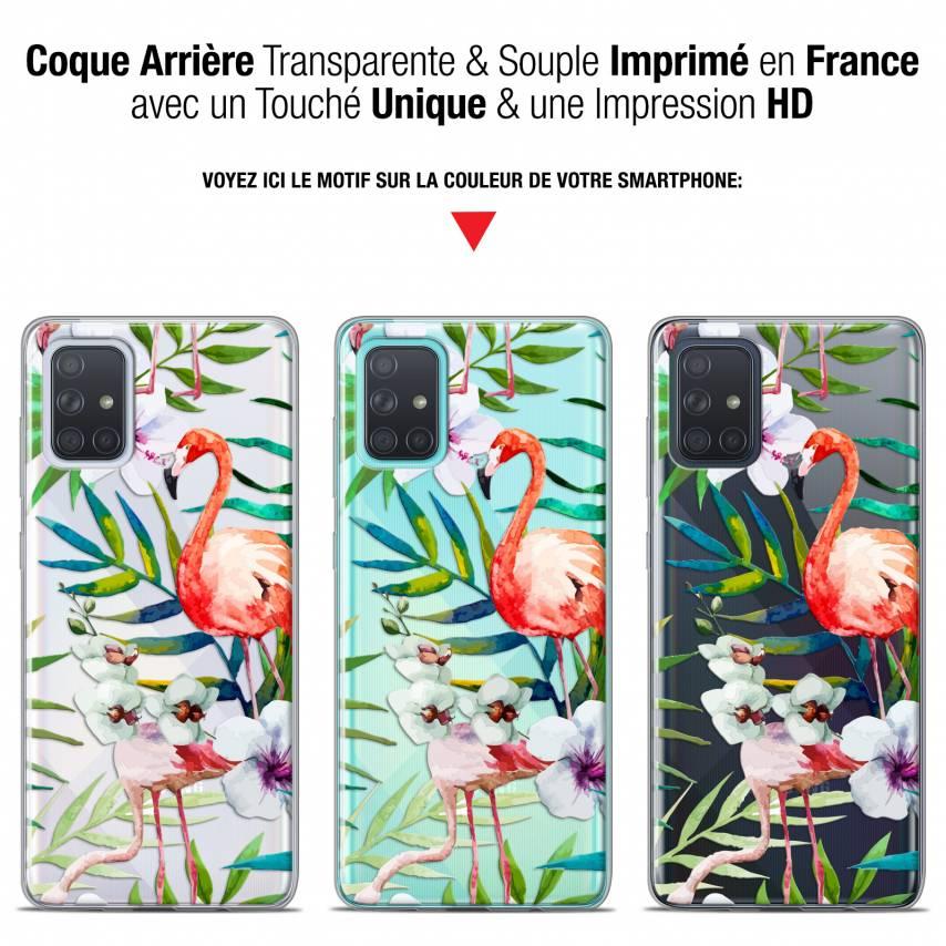 """Coque Gel Samsung Galaxy A71 (A715) (6.7"""") Extra Fine Watercolor - Tropical Flamingo"""