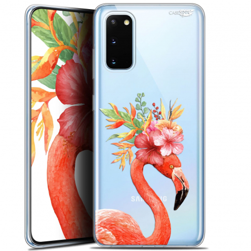 "Coque Gel Samsung Galaxy S20 (6.2"") Extra Fine Motif - Flamant Rose Fleuri"