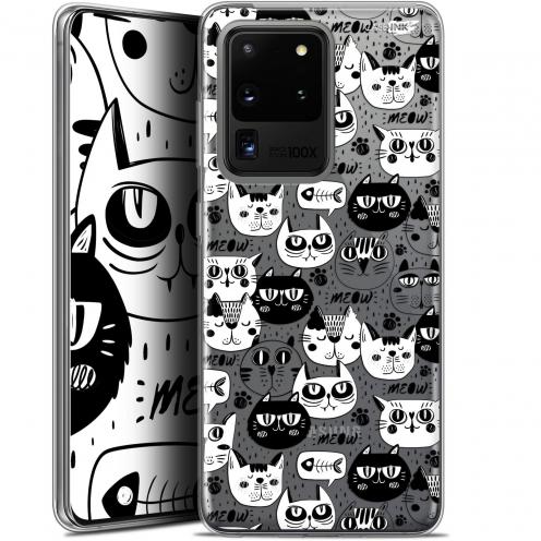 "Coque Gel Samsung Galaxy S20 Ultra (6.9"") Extra Fine Motif - Chat Noir Chat Blanc"