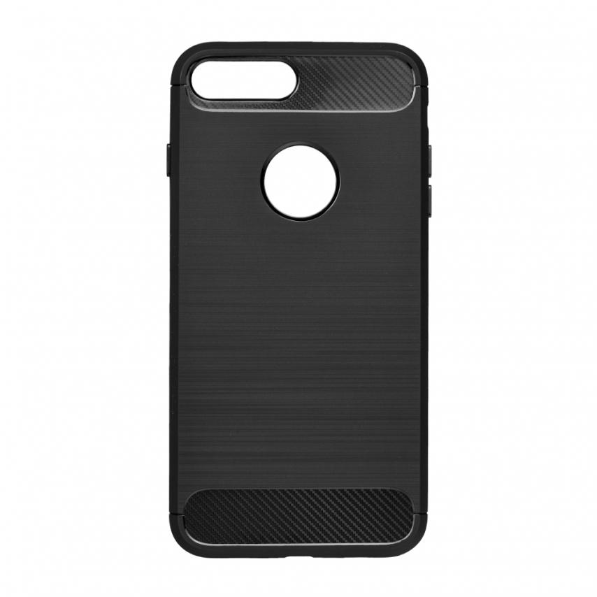 Forcell CARBON Coque pour iPhone SE 2020 Noir
