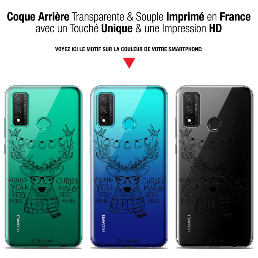 "Coque Gel Huawei P Smart 2020 (6.2"") Extra Fine Noël - Cerf Hipster"