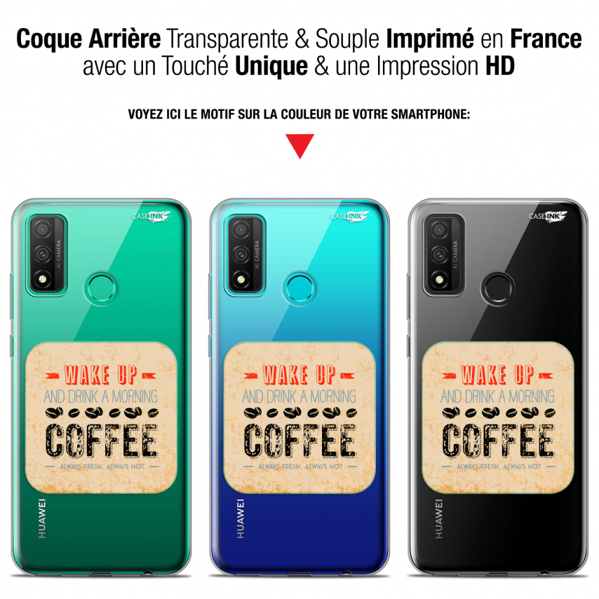 "Coque Gel Huawei P Smart 2020 (6.2"") Extra Fine Motif - Wake Up With Coffee"