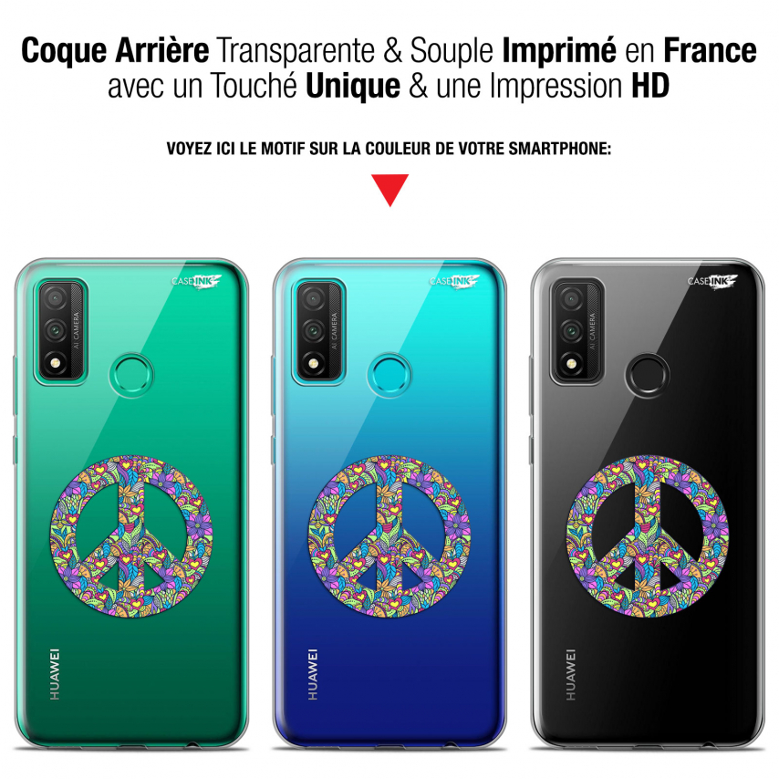 """Coque Gel Huawei P Smart 2020 (6.2"""") Extra Fine Motif - Peace And Love"""