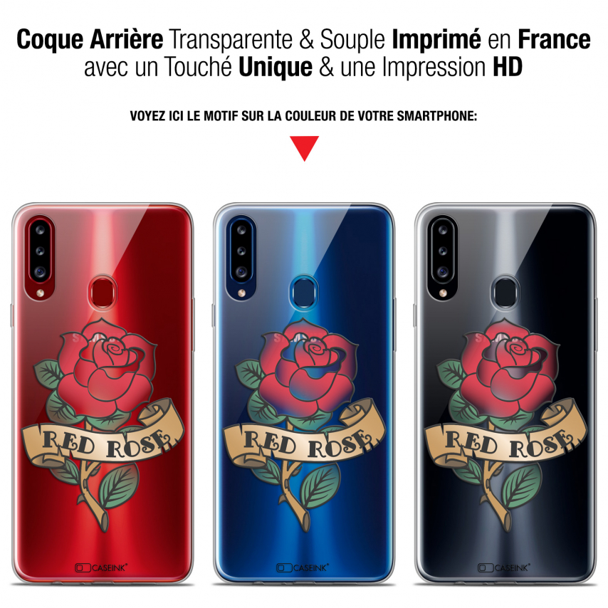 """Coque Gel Samsung Galaxy A20s (6.5"""") Extra Fine Tatoo Lover - Red Rose"""