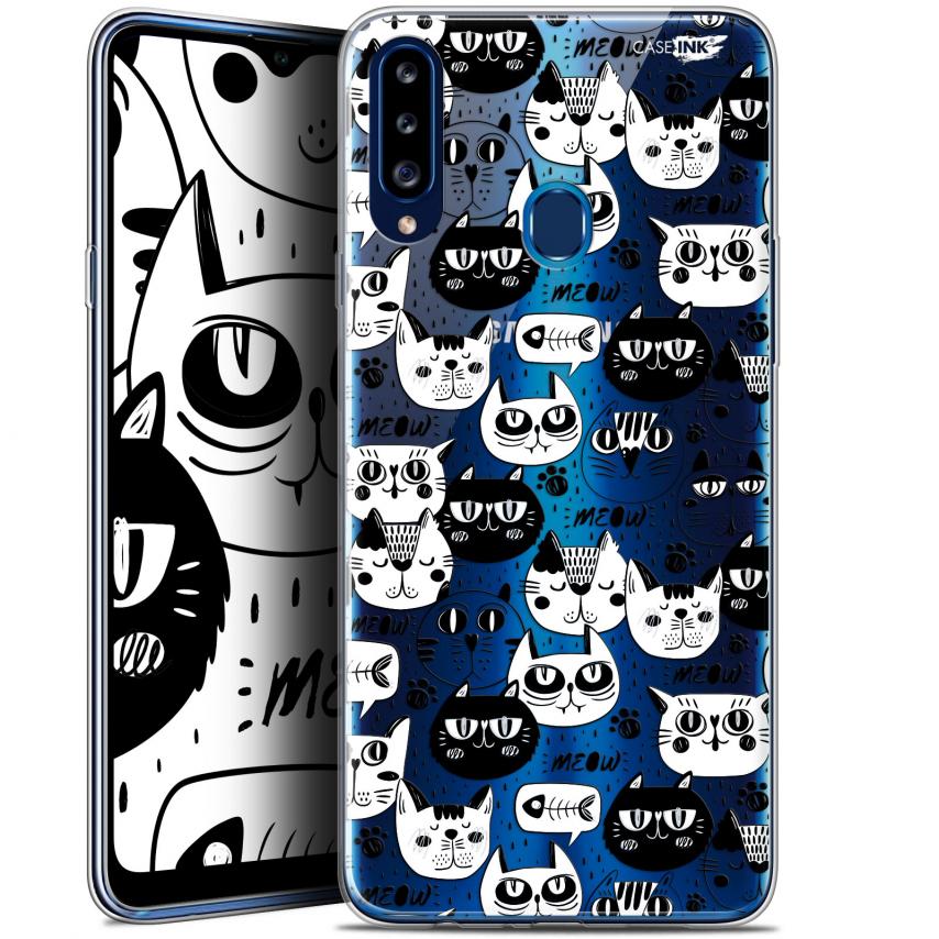 "Coque Gel Samsung Galaxy A20s (6.5"") Extra Fine Motif - Chat Noir Chat Blanc"