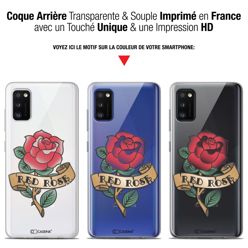 "Coque Gel Samsung Galaxy A41 (6.1"") Extra Fine Tatoo Lover - Red Rose"
