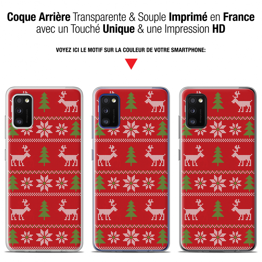 "Coque Gel Samsung Galaxy A41 (6.1"") Extra Fine Noël - Couture Rouge"