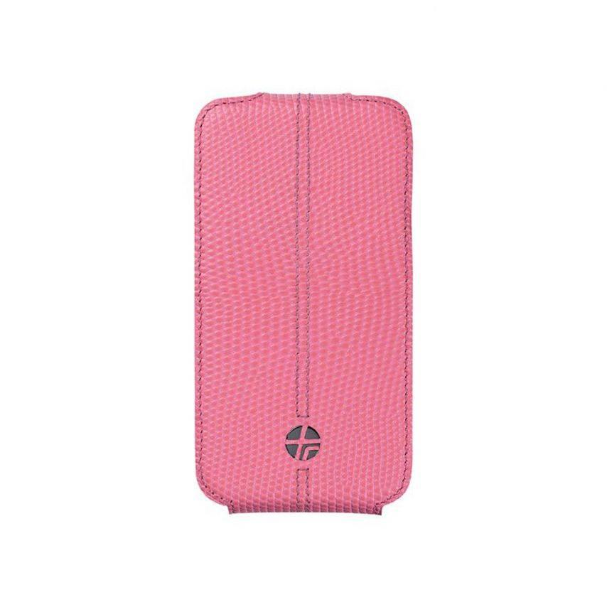 Photo réelle de Housse cuir véritable à clapet rotative Textra® Flippo lézard rose iPhone 4/4S